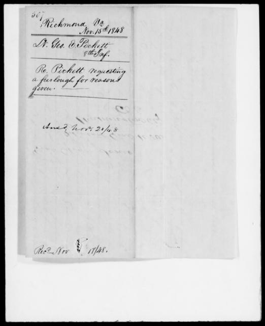 Pickett, Geo E - State: Virginia - Year: 1848 - File Number: P507