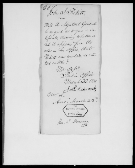 Pickett, John S - State: [Blank] - Year: 1838 - File Number: P60