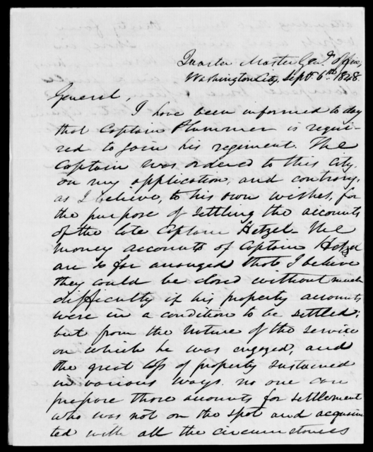 Plummer, J M - State: District of Columbia - Year: 1848 - File Number: P379