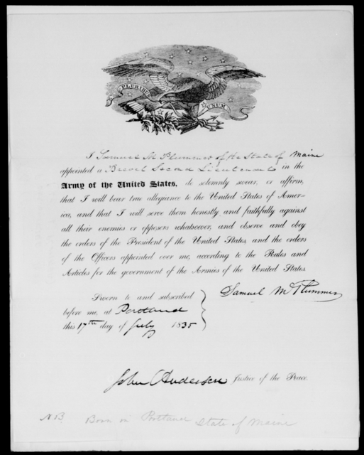 Plummer, Samuel M - State: Maine - Year: 1835 - File Number: [Blank]