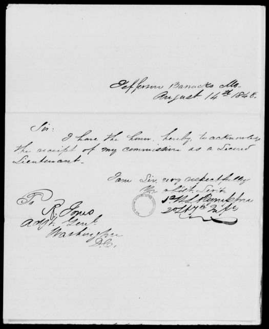Plympton, P W L - State: Missouri - Year: 1848 - File Number: P340