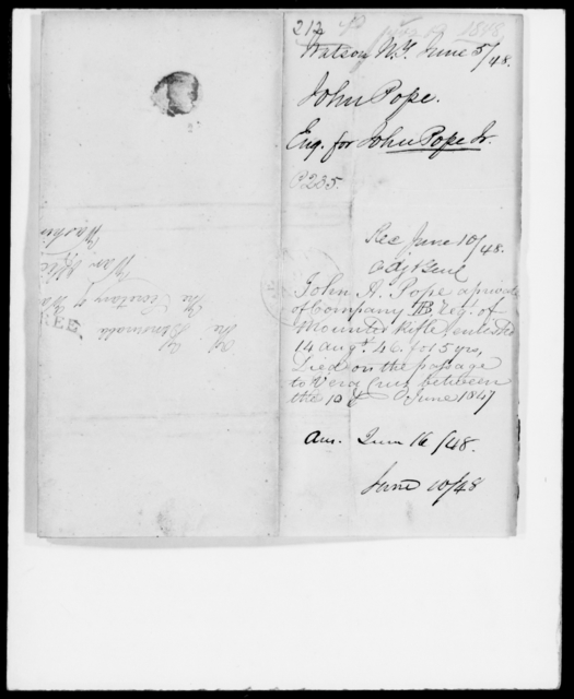 Pope, John A - State: New York - Year: 1848 - File Number: P212