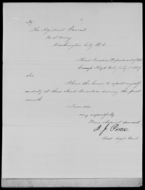 Porter, F J - State: District of Columbia - Year: 1859 - File Number: P169