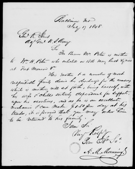 Poteet, Wm H - State: Maryland - Year: 1848 - File Number: P255