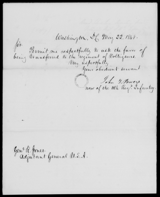 Powers, John T - State: District of Columbia - Year: 1848 - File Number: P188