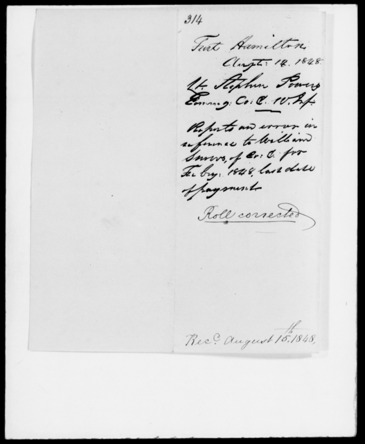 Powers, Stephen - State: [Blank] - Year: 1848 - File Number: P314