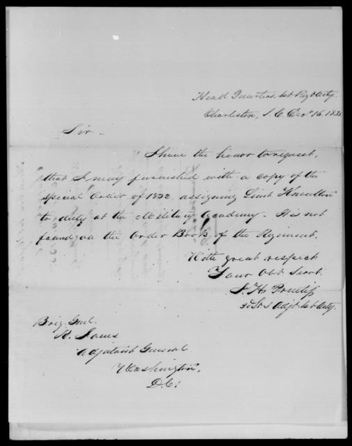 Prentiss, J H - State: South Carolina - Year: 1835 - File Number: [Blank]