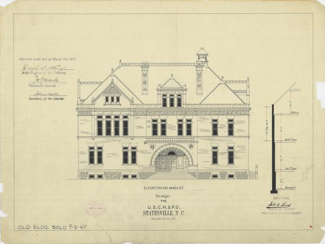 Presentation drawing of te Statesville NC Court House and Post Office