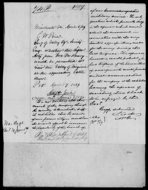 Price, C W - State: Virginia - Year: 1859 - File Number: P74
