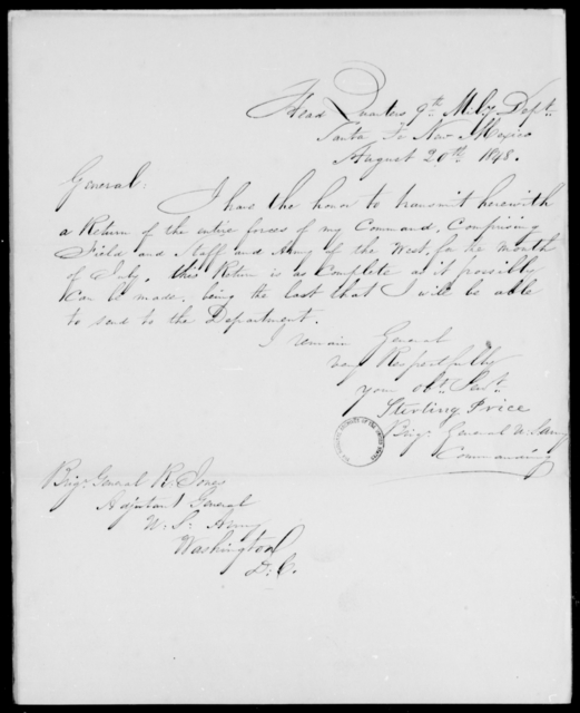 Price, Sterling - State: New Mexico - Year: 1848 - File Number: P461