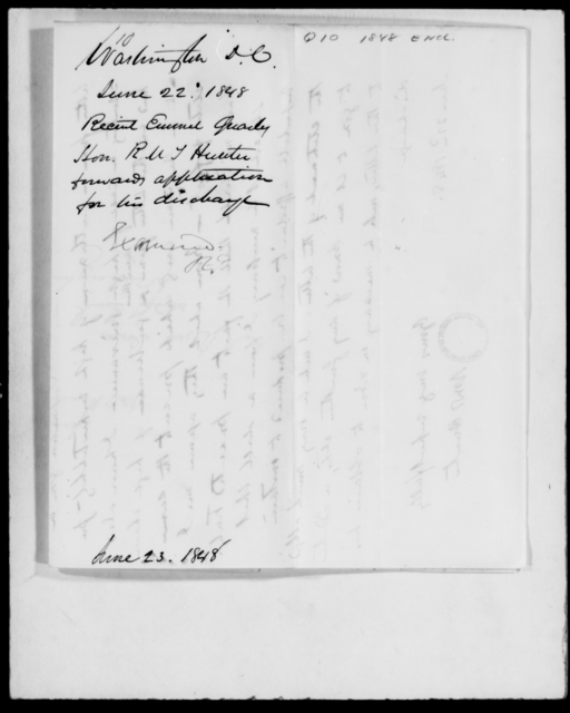 Quarles, Robert E - State: District of Columbia - Year: 1848 - File Number: Q10