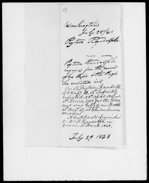 Randolph, Peyton - State: Washington - Year: 1848 - File Number: R81