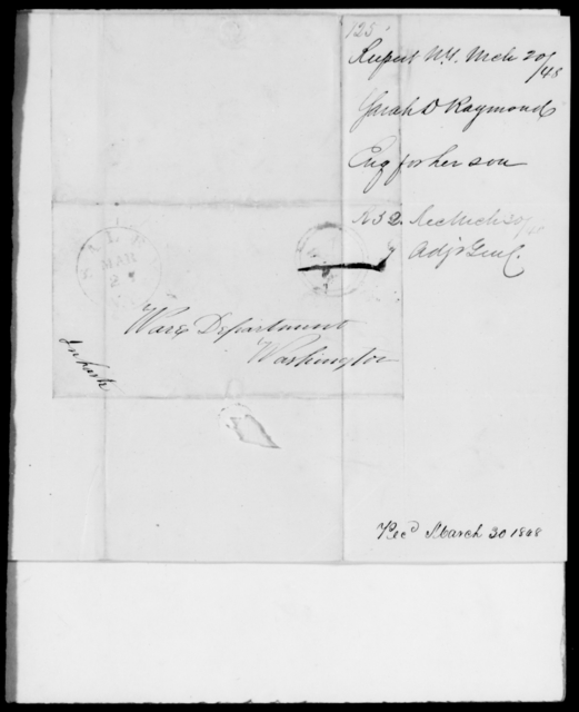 Raymond, Sarah D - State: New York - Year: 1848 - File Number: R125