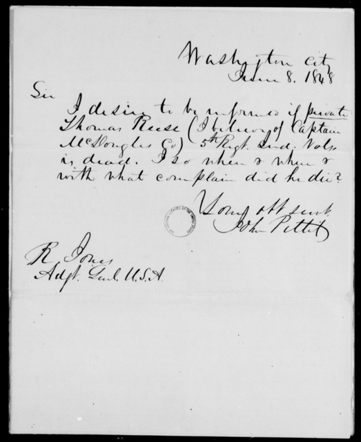 Reese, Thomas - State: District of Columbia - Year: 1848 - File Number: R238