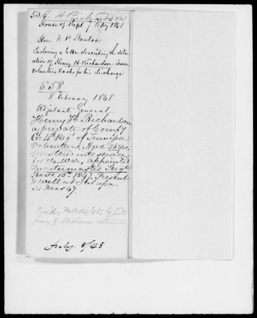 Richardson, Henry H - State: Tennessee - Year: 1848 - File Number: R53