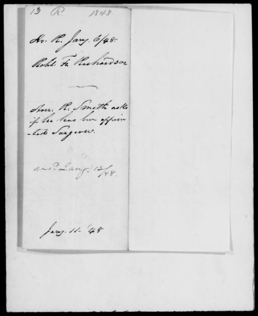 Richardson, Robert F - State: [Blank] - Year: 1848 - File Number: R13