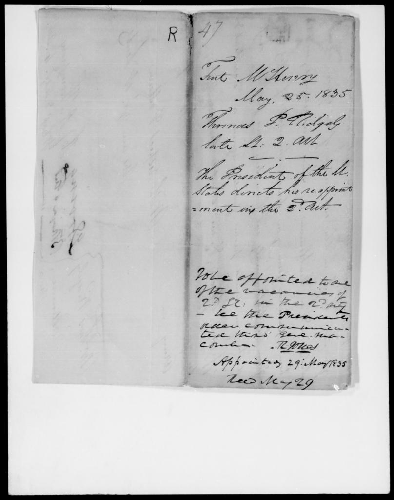 Ridgely, Thomas P - State: Virginia - Year: 1835 - File Number: R47