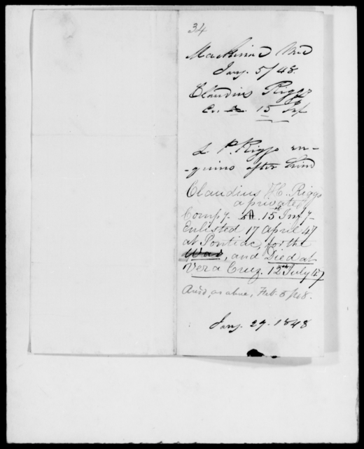 Riggs, Claudius - State: Maryland - Year: 1848 - File Number: R34