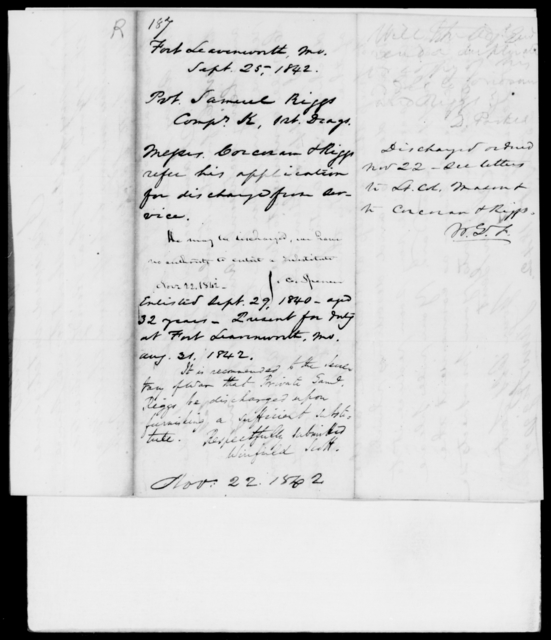 Riggs, Samuel - State: Missouri - Year: 1842 - File Number: R187