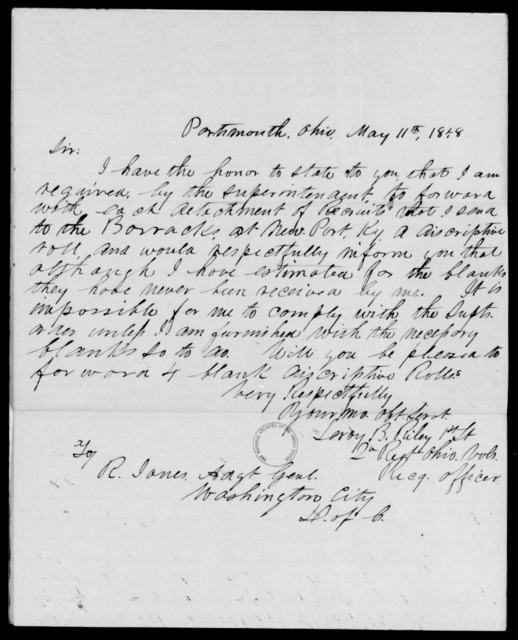 Riley, Leroy B - State: Ohio - Year: 1848 - File Number: R196