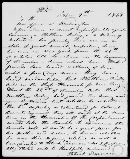 Riley, Matthew - State: Washington - Year: 1848 - File Number: R60