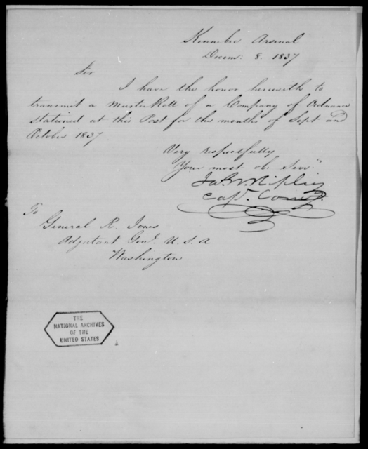 Ripley, Jos W - State: [Blank] - Year: 1837 - File Number: R148