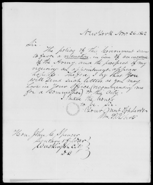 Roberts, Wm P - State: New York - Year: 1842 - File Number: R191