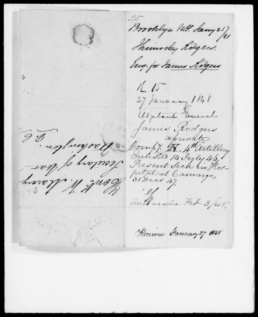 Rodgers, Thimothy - State: New York - Year: 1848 - File Number: R25