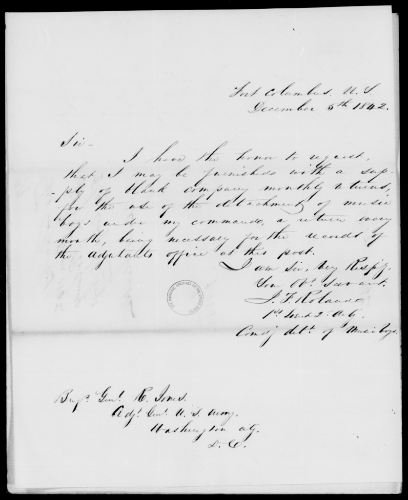 Roland, J F - State: New York - Year: 1842 - File Number: R194