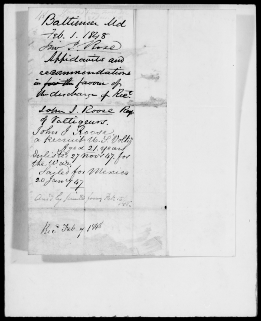 Roose, John J - State: Maryland - Year: 1848 - File Number: R48