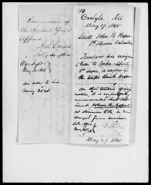 Roper, John B - State: Illinois - Year: 1848 - File Number: R211