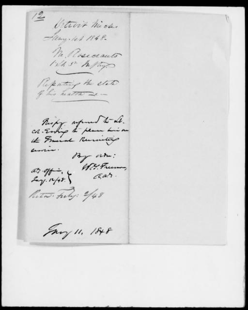 Rosecrants, M - State: Michigan - Year: 1848 - File Number: R12
