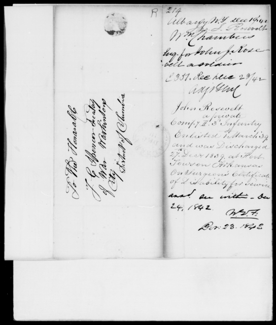 Rosevelt, John J - State: New York - Year: 1842 - File Number: R214