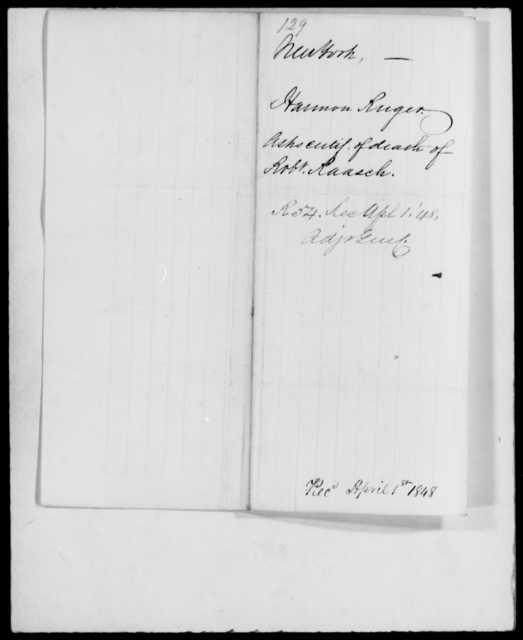 Ruger, Harmon - State: New York - Year: 1848 - File Number: R129