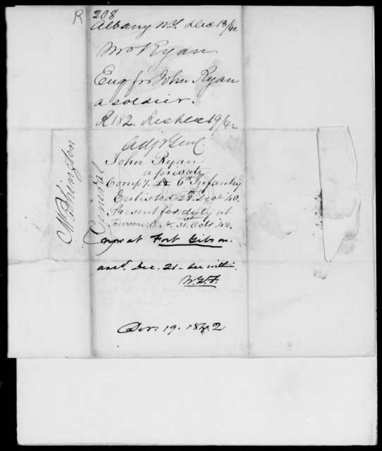 Ryan, John - State: New York - Year: 1842 - File Number: R208