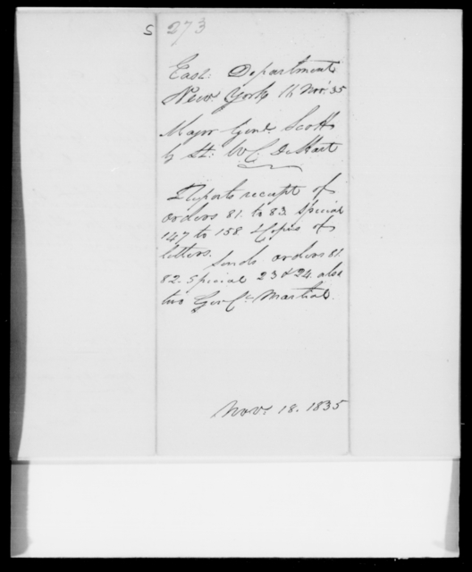 Scott, [Blank] - State: New York - Year: 1835 - File Number: S273