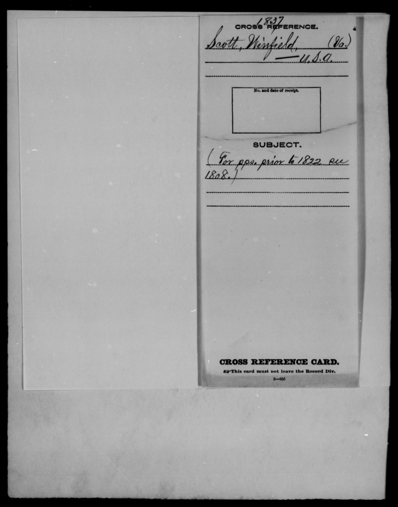 Scott, Winfield - State: Virginia - Year: 1837 - File Number: [Blank]