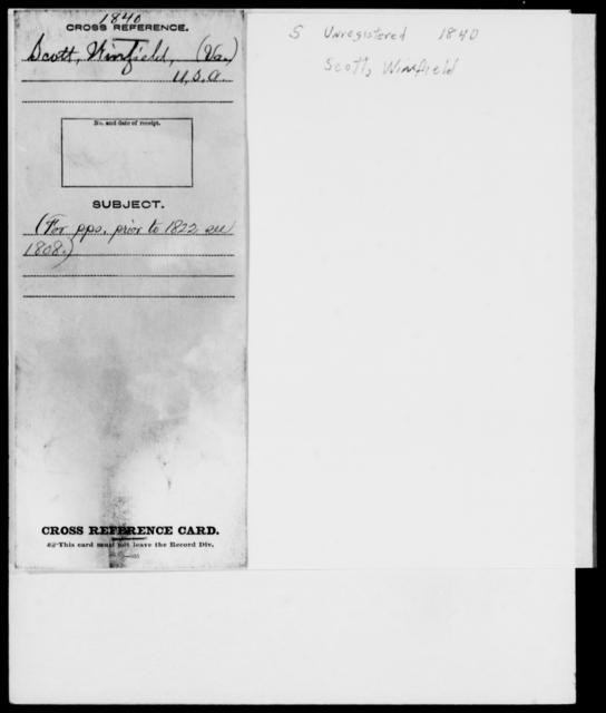 Scott, Winfield - State: Virginia - Year: 1840 - File Number: [Blank]