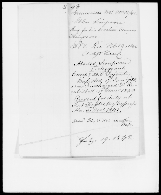 Simpson, John - State: New York - Year: 1842 - File Number: S48