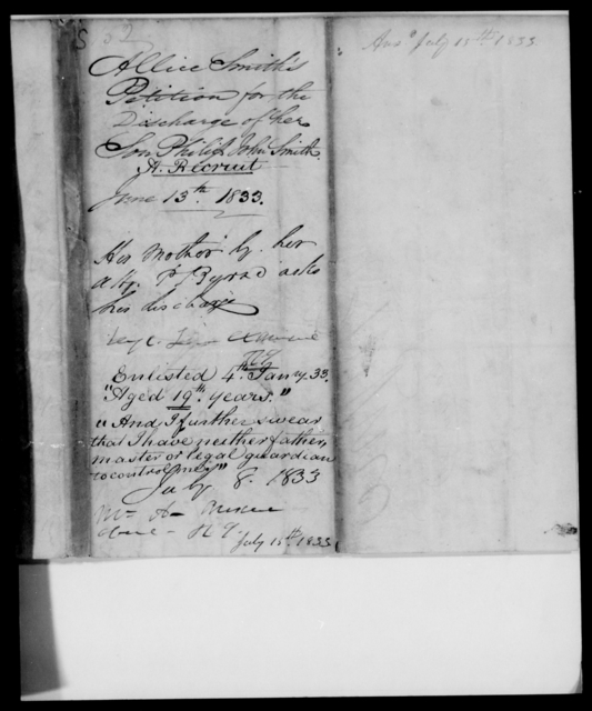 Smith, Alice - State: [Blank] - Year: 1833 - File Number: S152