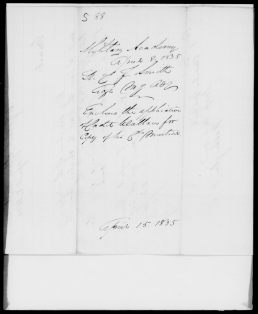 Smith, C F - State: [Blank] - Year: 1835 - File Number: S88