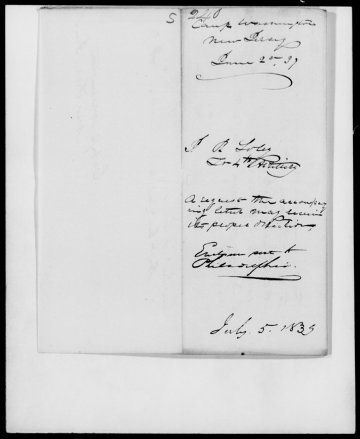 Soley, J B - State: District of Columbia - Year: 1839 - File Number: S240