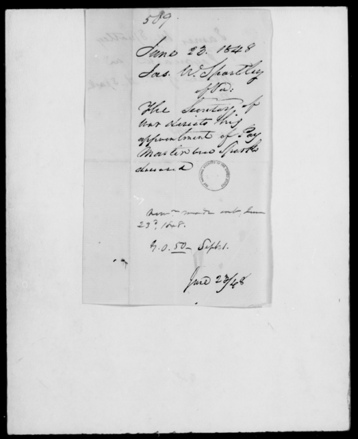 Spratley, Jas W - State: [Blank] - Year: 1848 - File Number: S509