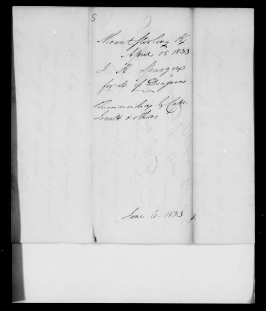 Spunger, J H - State: [Blank] - Year: 1833 - File Number: S117
