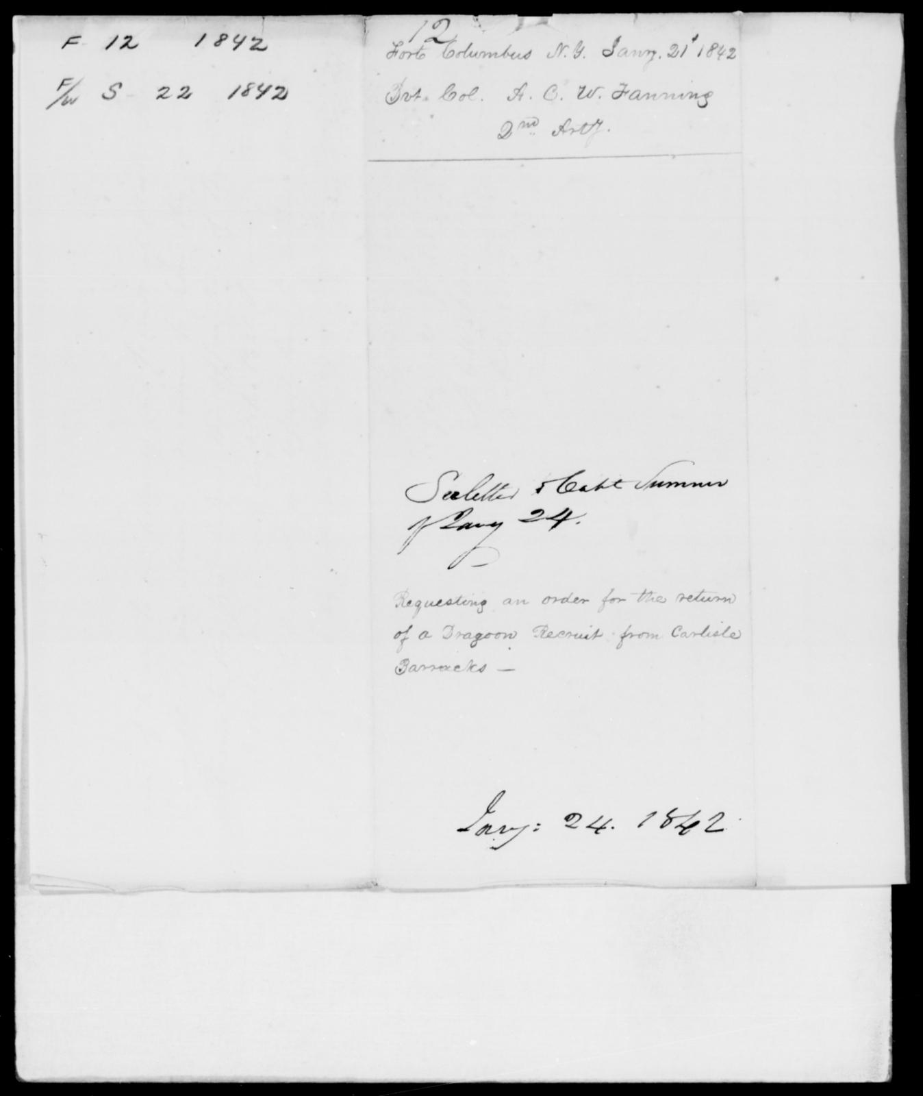 Sumner, E V - State: New York - Year: 1842 - File Number: S22