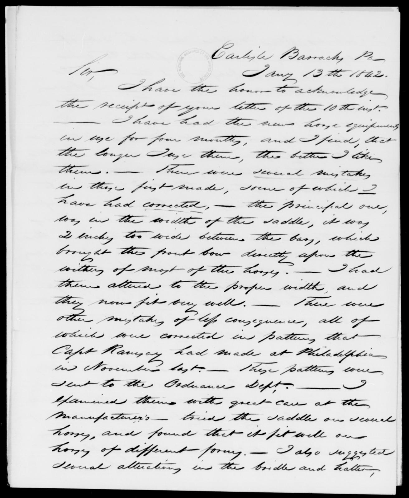 Sumner, E V - State: Pennsylvania - Year: 1842 - File Number: S10