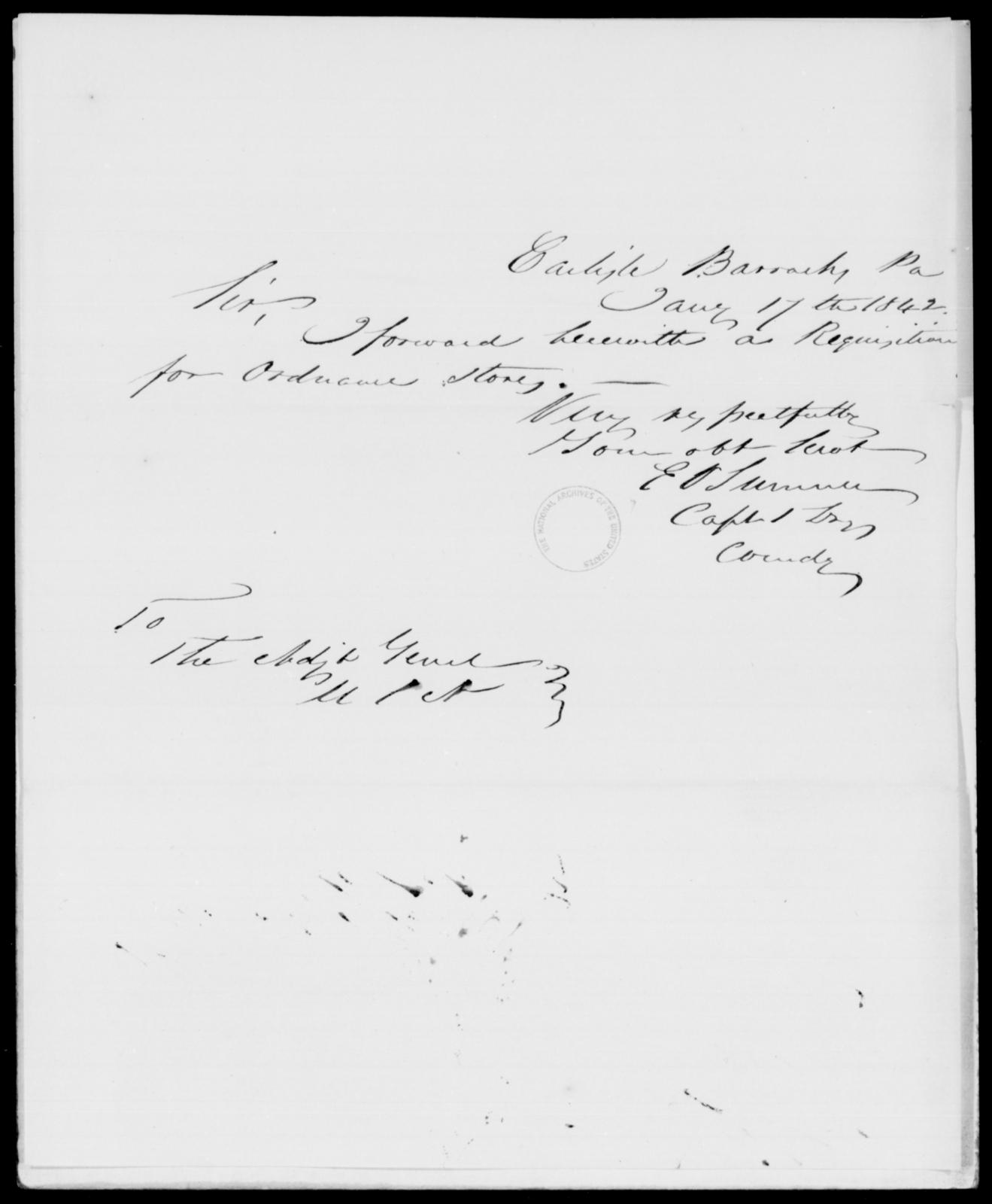 Sumner, E V - State: Pennsylvania - Year: 1842 - File Number: S14