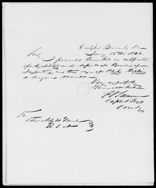 Sumner, E V - State: Pennsylvania - Year: 1842 - File Number: S21