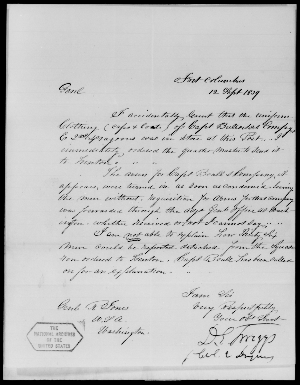 Twiggs, D E - State: New York - Year: 1839 - File Number: T291