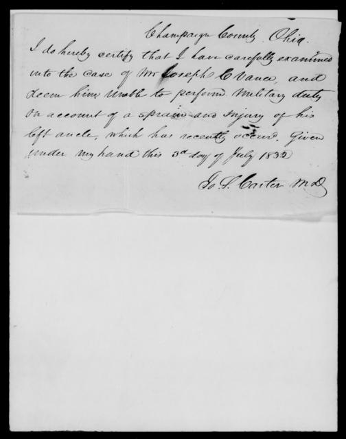 Vance, Joseph C - State: Ohio - Year: 1832 - File Number: V21